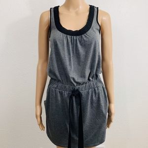 LOFT Sleeveless Tie Waist Dress XXS Gray